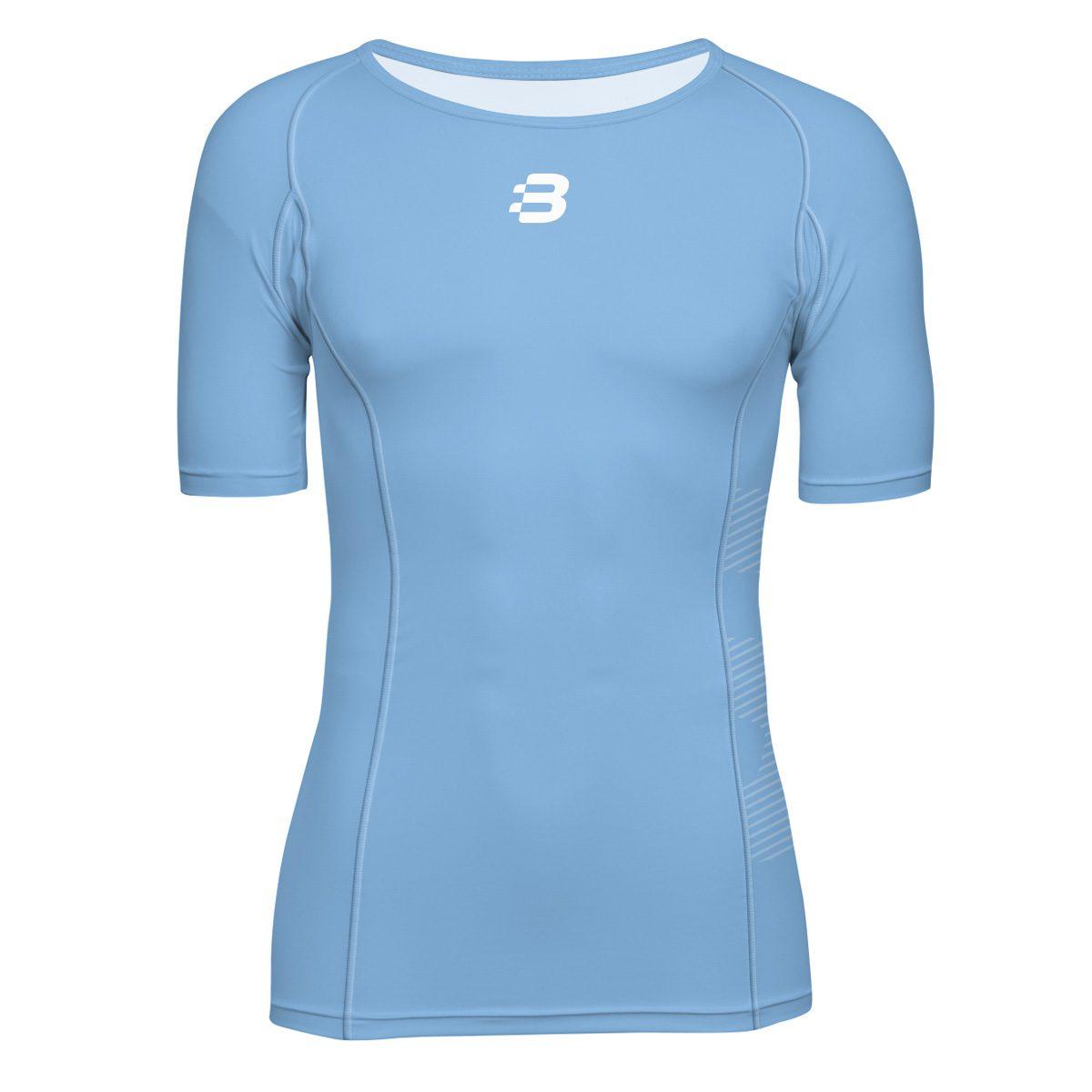 Mens compression t shirt sky blue blackchrome for Compression tee shirts for men