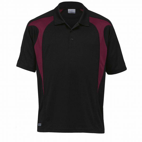 Dri gear spliced zenith polo black maroon blackchrome for Maroon dri fit polo shirt