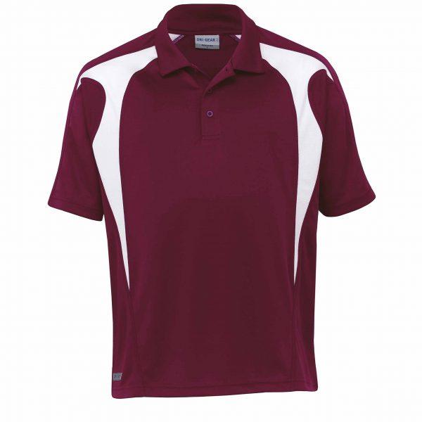 Dri gear spliced zenith polo maroon white blackchrome for Maroon dri fit polo shirt
