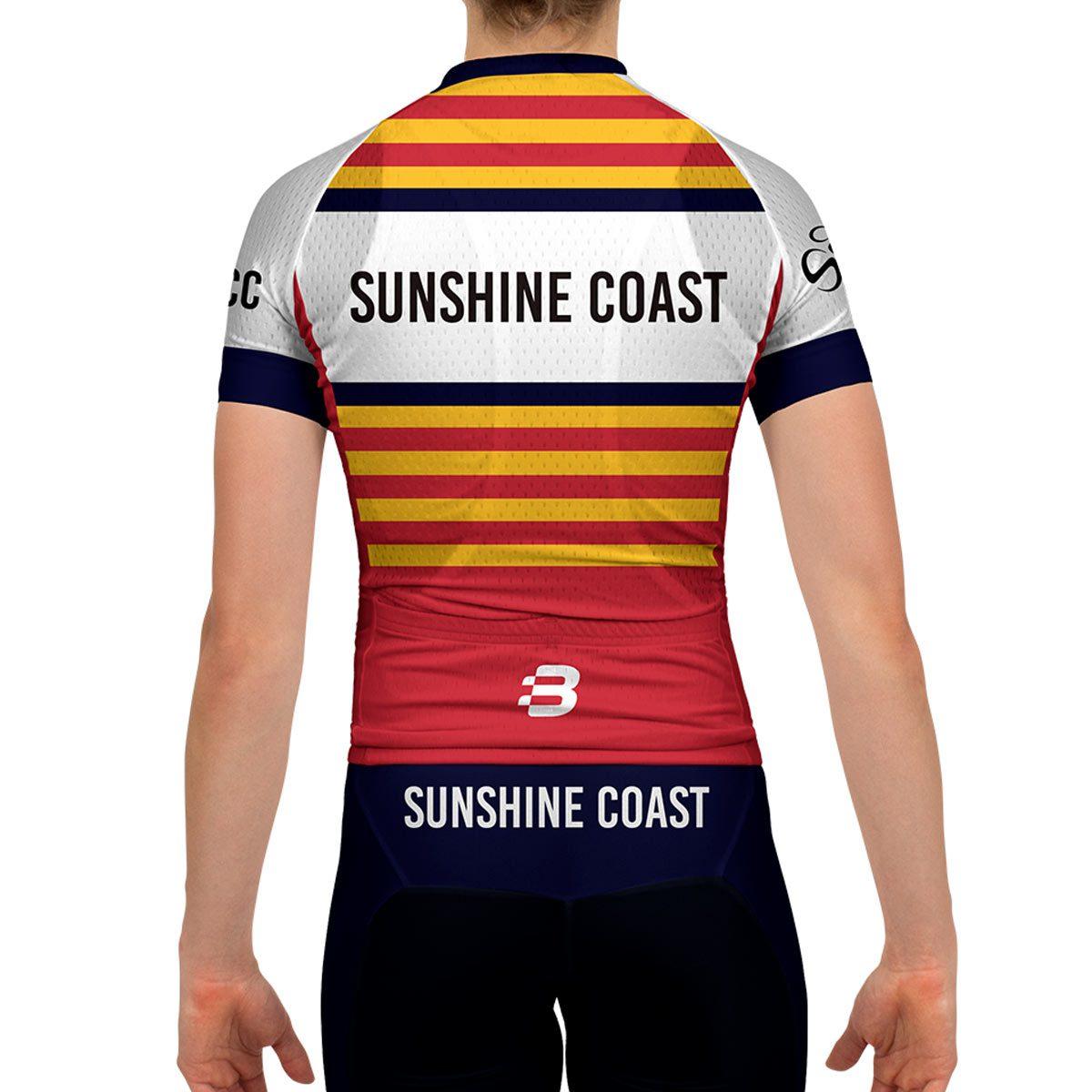 Ladies pro fit jersey sunshine coast cycling club pre for Fishing sponsor shirts