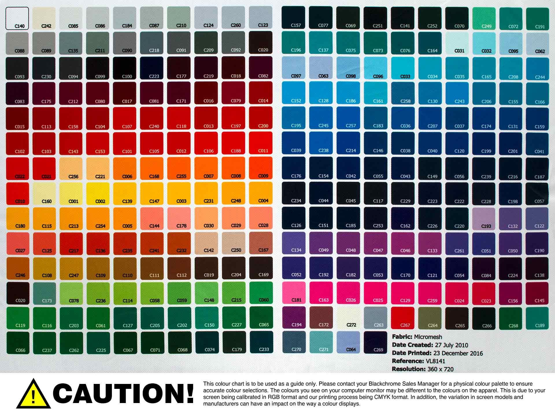 Colour Palettes - Blackchrome