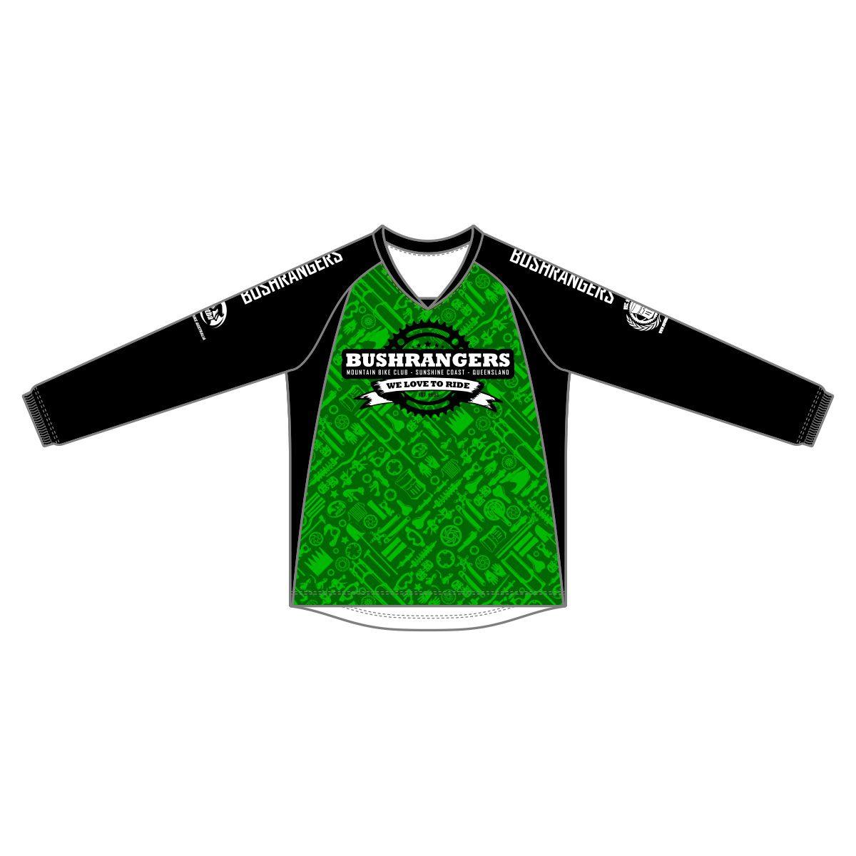 Bushrangers MTB Mens Long Sleeve - Enduro.DH Jersey Green Black - VL67946 -  Front ef921fac0