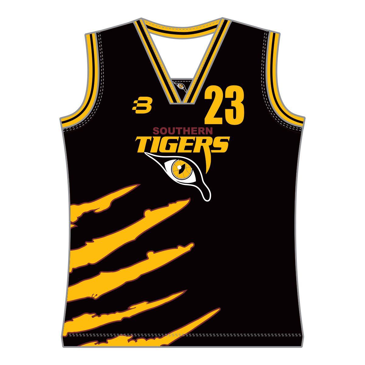 7e1ffdad15a Southern Tigers Basketball Club - Boys Basketball Singlet (Black) - VL65797  - Front