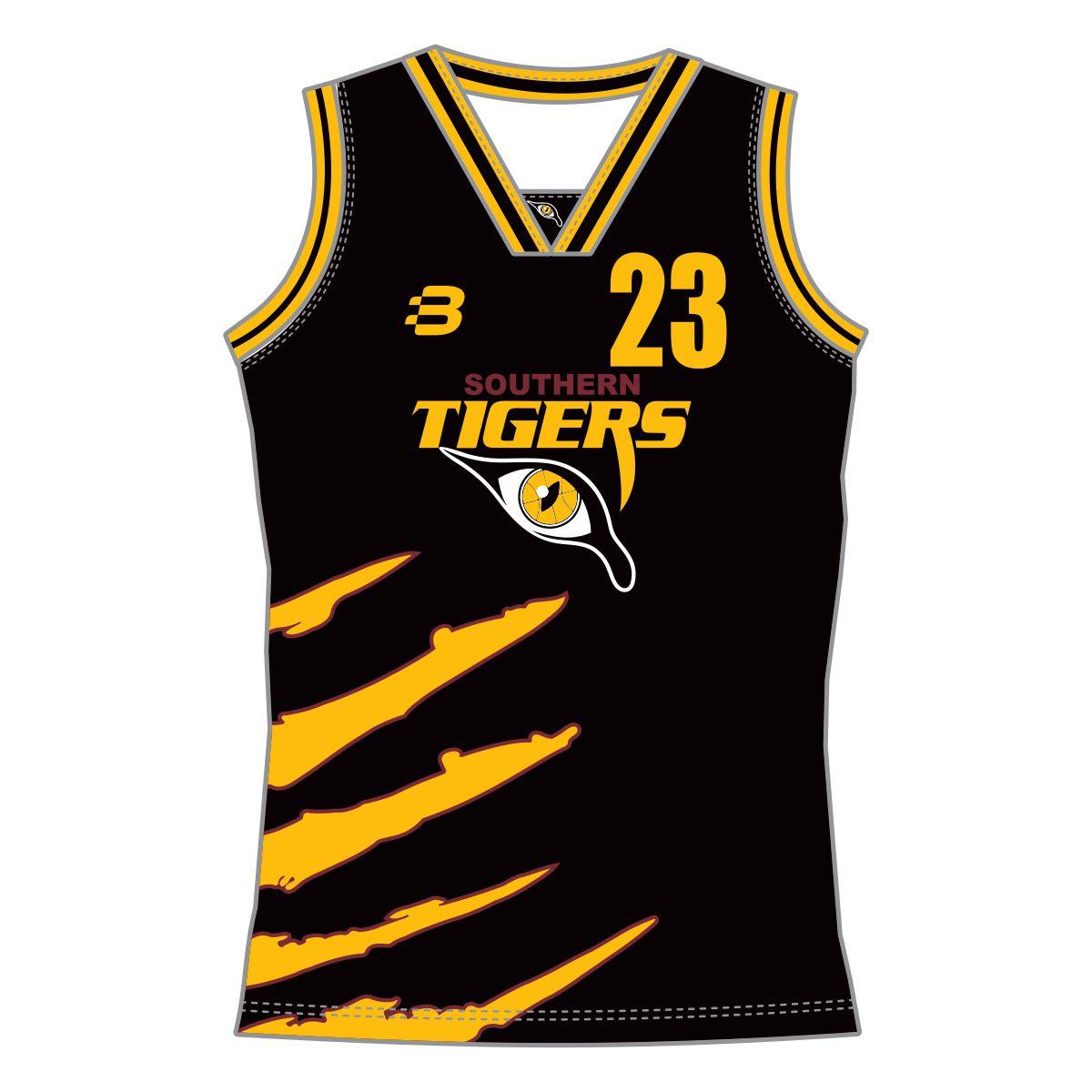 05b3c2cafb1 Southern Tigers Basketball Club - Girls Basketball Singlet (Black) -  VL65798 - Front