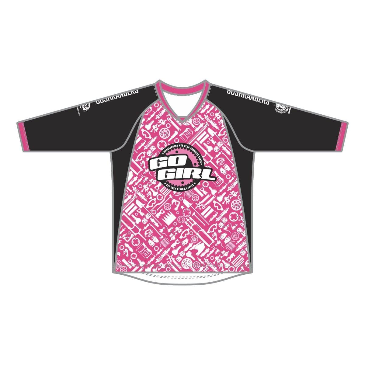 638028643 Bushrangers MTB Youth 3 4 Sleeve Enduro Jersey - Pink Black ...
