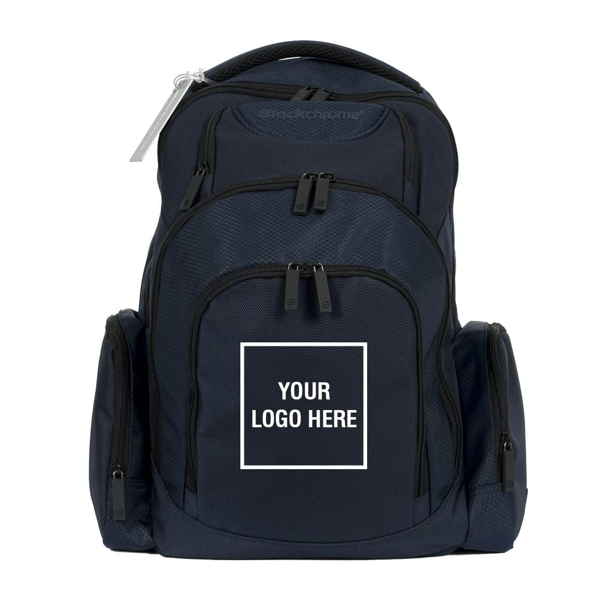 Elite Backpack - Navy - with custom logo option - front view