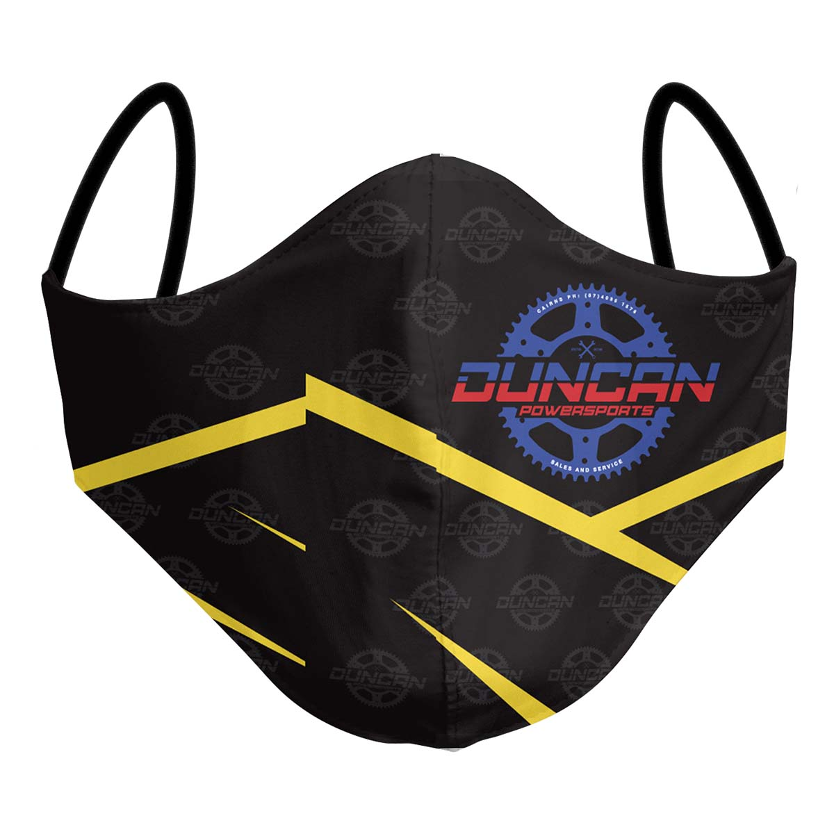 Custom Motorsport Accessories - Duncan Motorsport Example - Face Mask - Any Design, Any Colour - Add Your Logo - Front